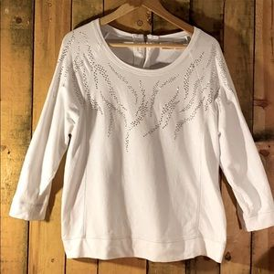 NWOT Chico's White Studded 3/4 Length Sweater